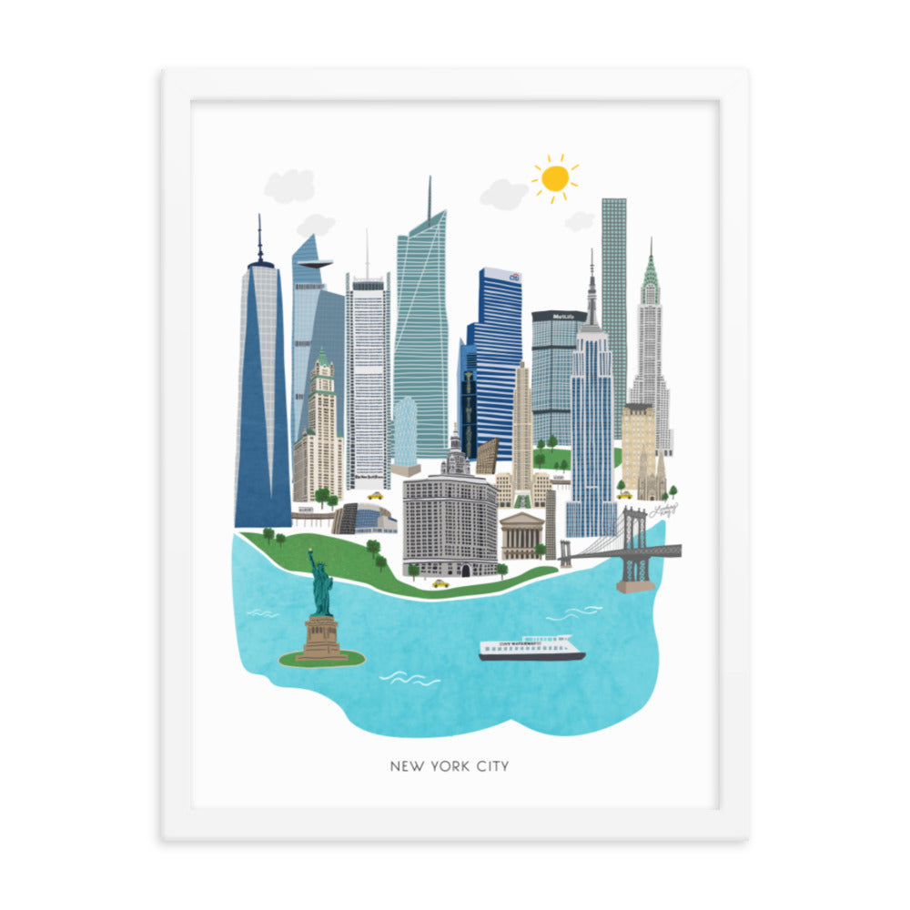 new york city illustration painting framed art print wall art lindsey kay collective