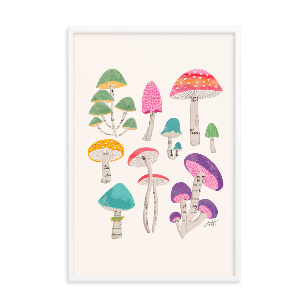 colorful mushrooms collage illustration art print nature wall decor lindsey kay collective framed wall art
