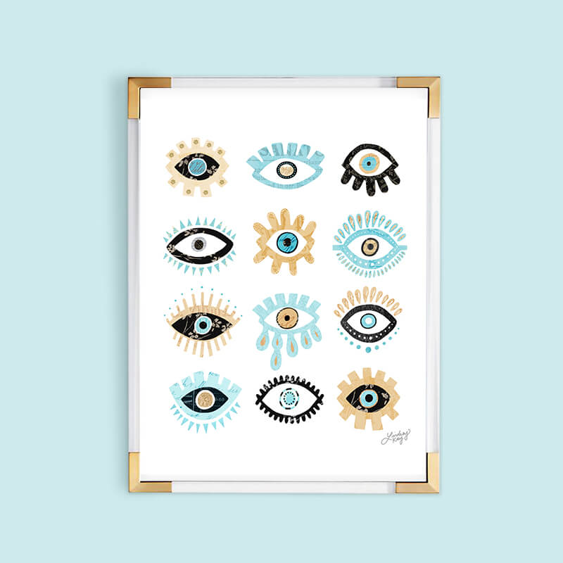 evil eyes collage illustration art print, wall art, wall decor