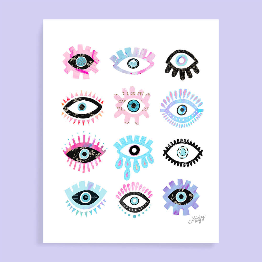 colorful evil eyes illustration art print for your home decor wall art