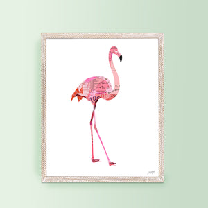 Flamingo Collage - Art Print