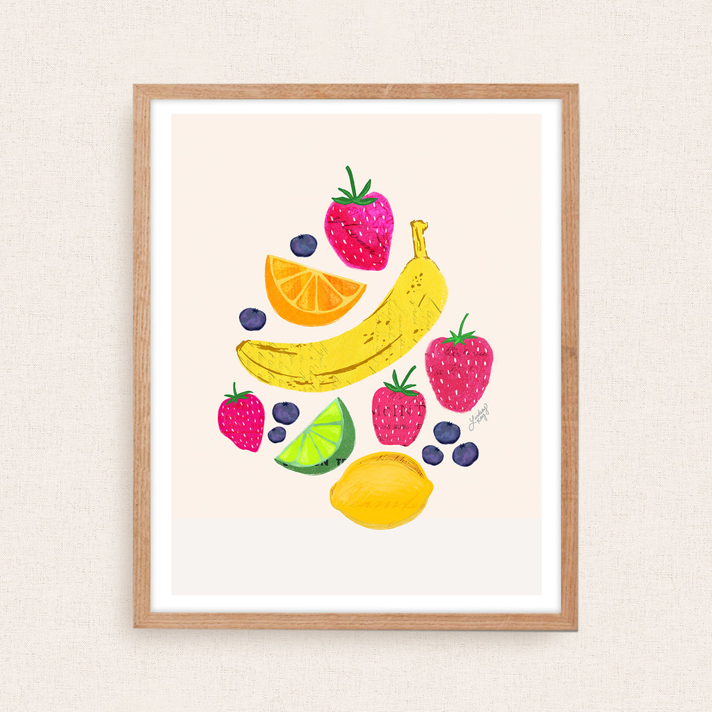 Fruits Illustration Collage - Art Print - Lindsey Kay Collective
