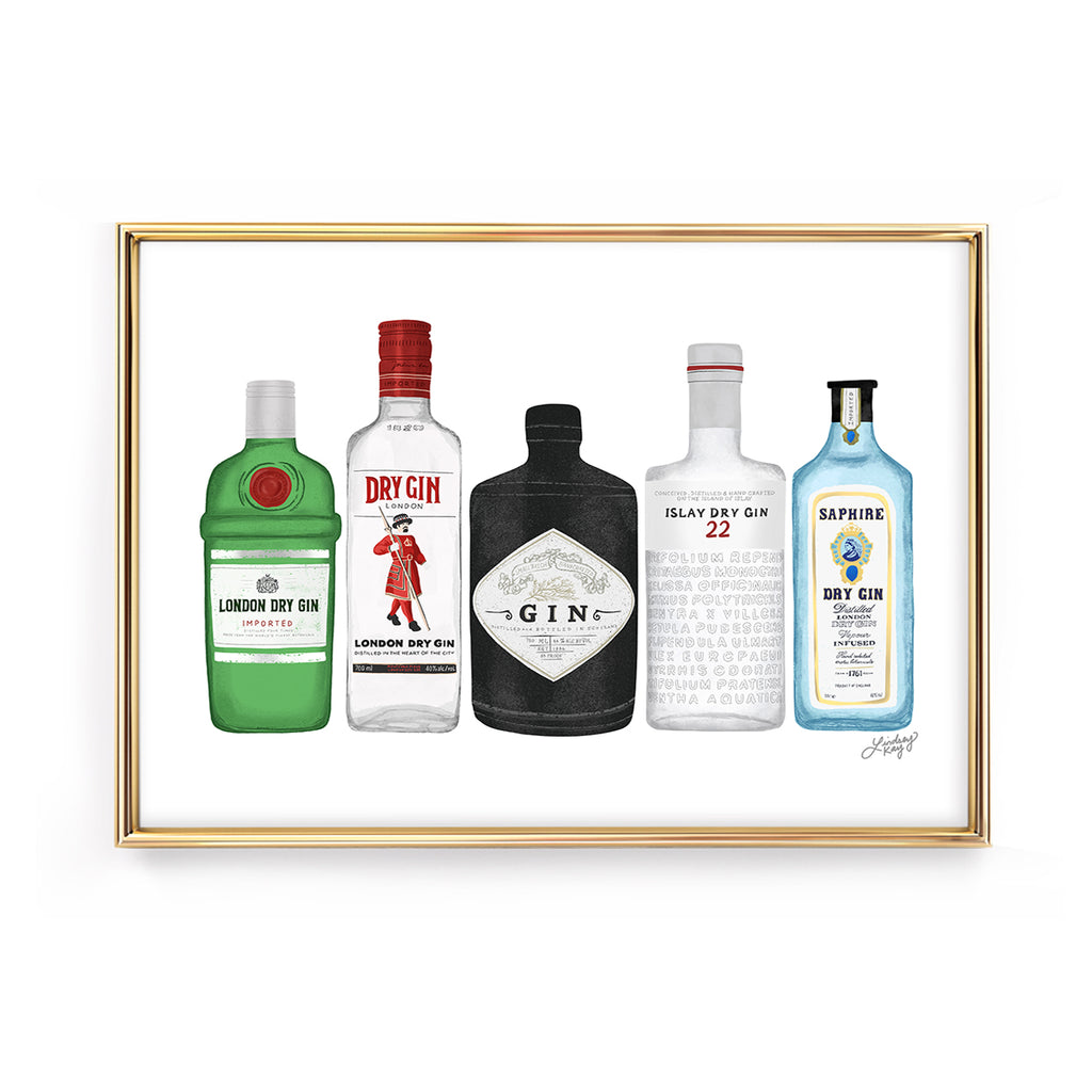 gin bottles illustration art print wall art bombay beefeater hendricks botanicals lindsey kay collective