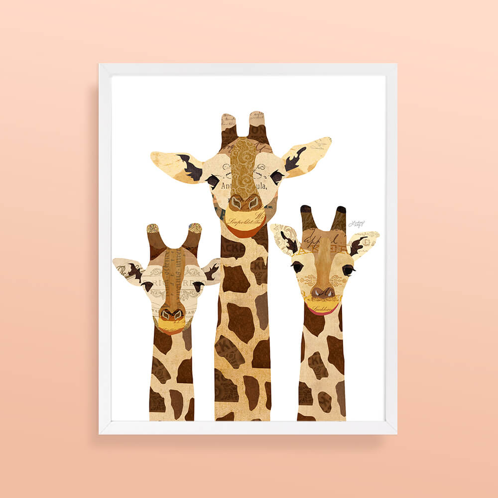 giraffe, collage, illustration, art print, home decor, art, wall art, animal art, lindsey kay co