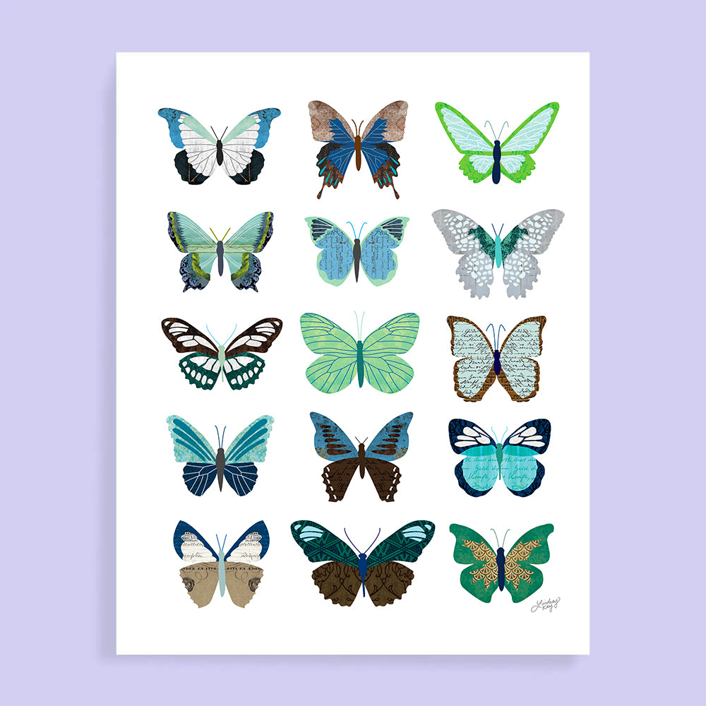 Green and Blue Butterflies Collage - Art Print