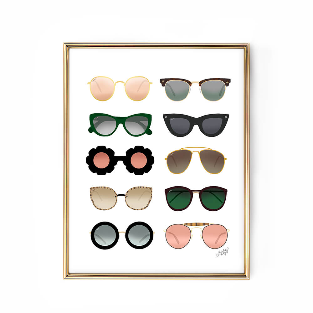 blue gold pink green sunglasses illustration art print lindsey kay collective