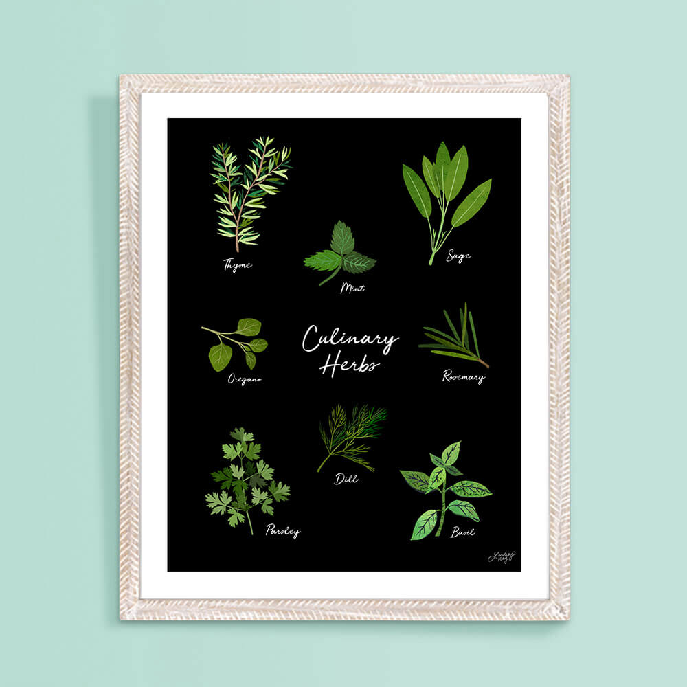 herbs, collage, art print, herbs art print, cooking art print, lindsey kay co
