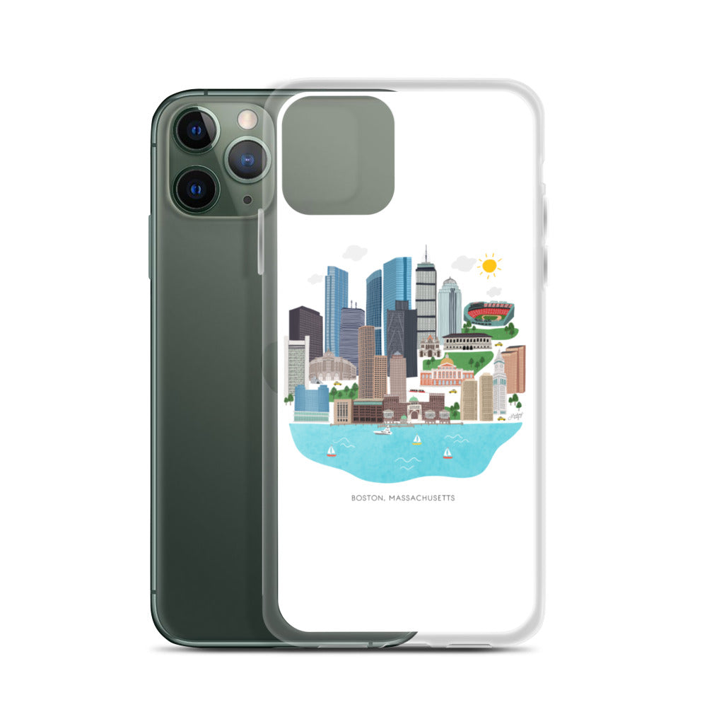 Boston Skyline Illustration - iPhone Case