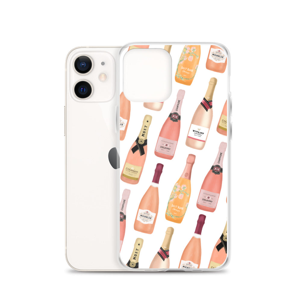 Rose Champagne Bottles Pattern - iPhone Case
