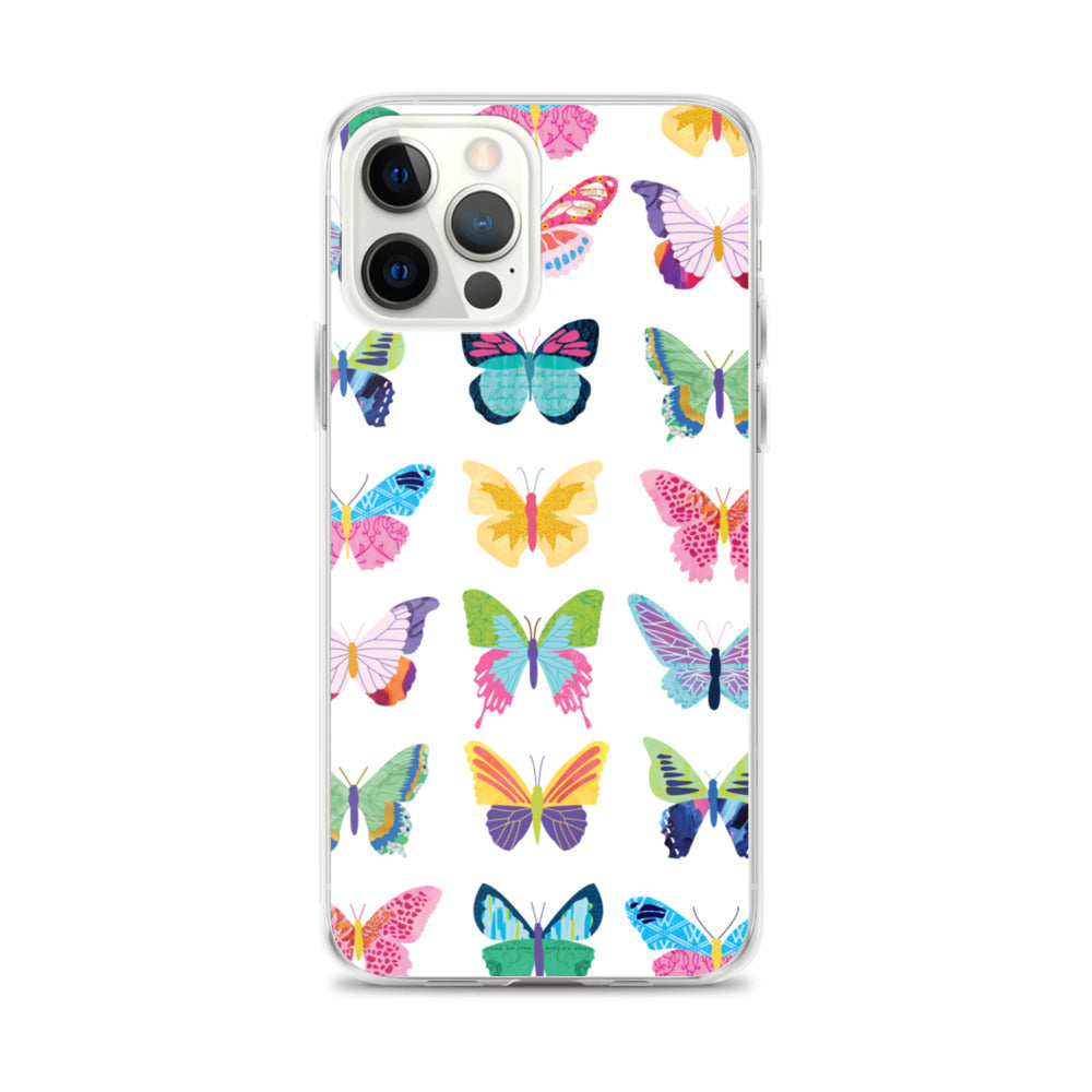 colorful butterflies illustration collage art iphone case multiple sizes