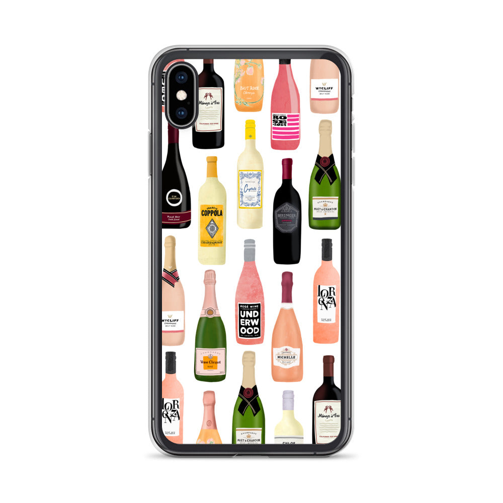 Wine and Champagne Bottles Illustration - iPhone Case