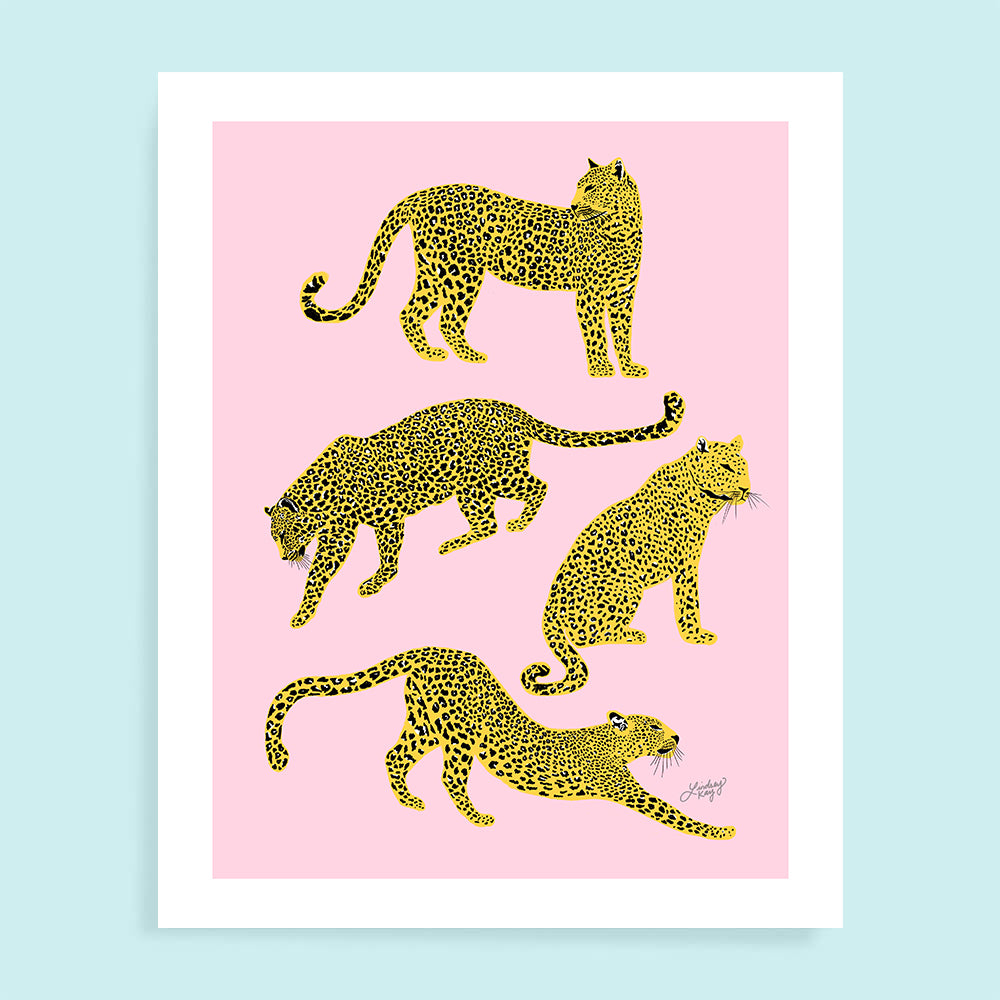 Leopards Illustration (Pink/Yellow Palette) - Art Print
