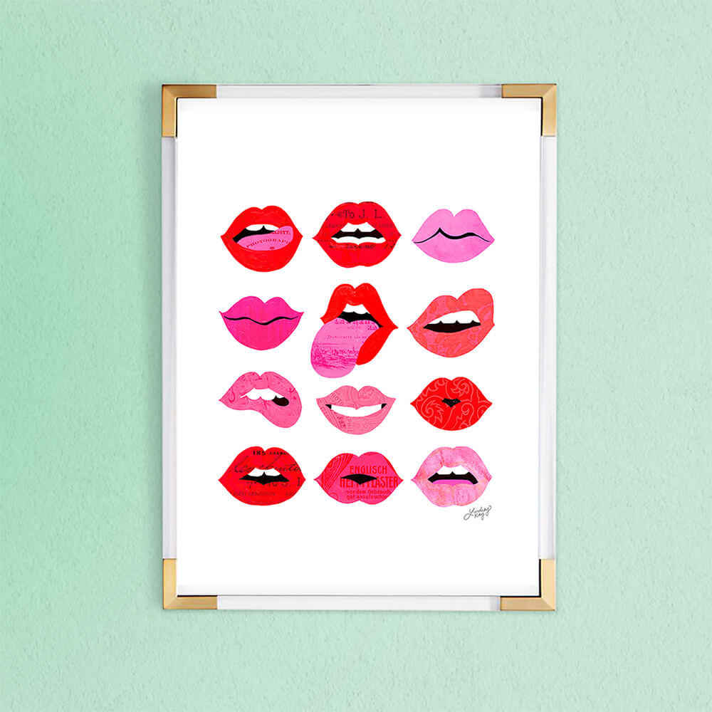 Lips of Love Illustration Art Print - printed on matte paper, sizes range from x-small to x-large
