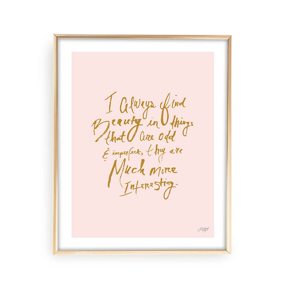 marc jacobs, quote, hand-drawn, lettering, inspirational art, fashion art, wall art, art print, pink, lindsey kay co