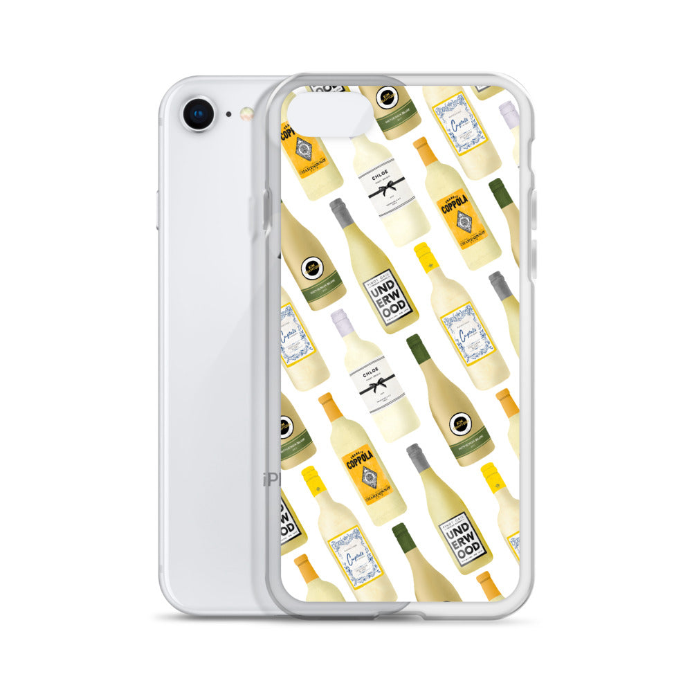 White Wine Bottles Illustration - iPhone Case