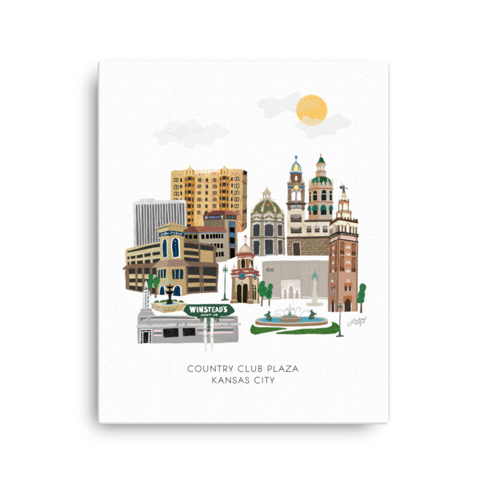 kansas city country club plaza illustration skyline cityscape on canvas designed by lindsey kay collective
