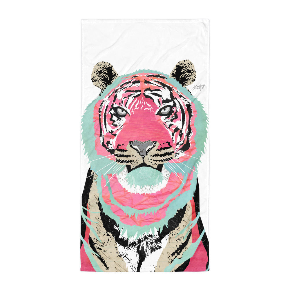 Pink Tiger Collage - Beach Towel