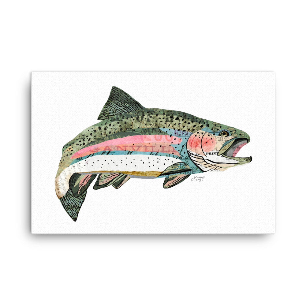Rainbow Trout Collage - Canvas