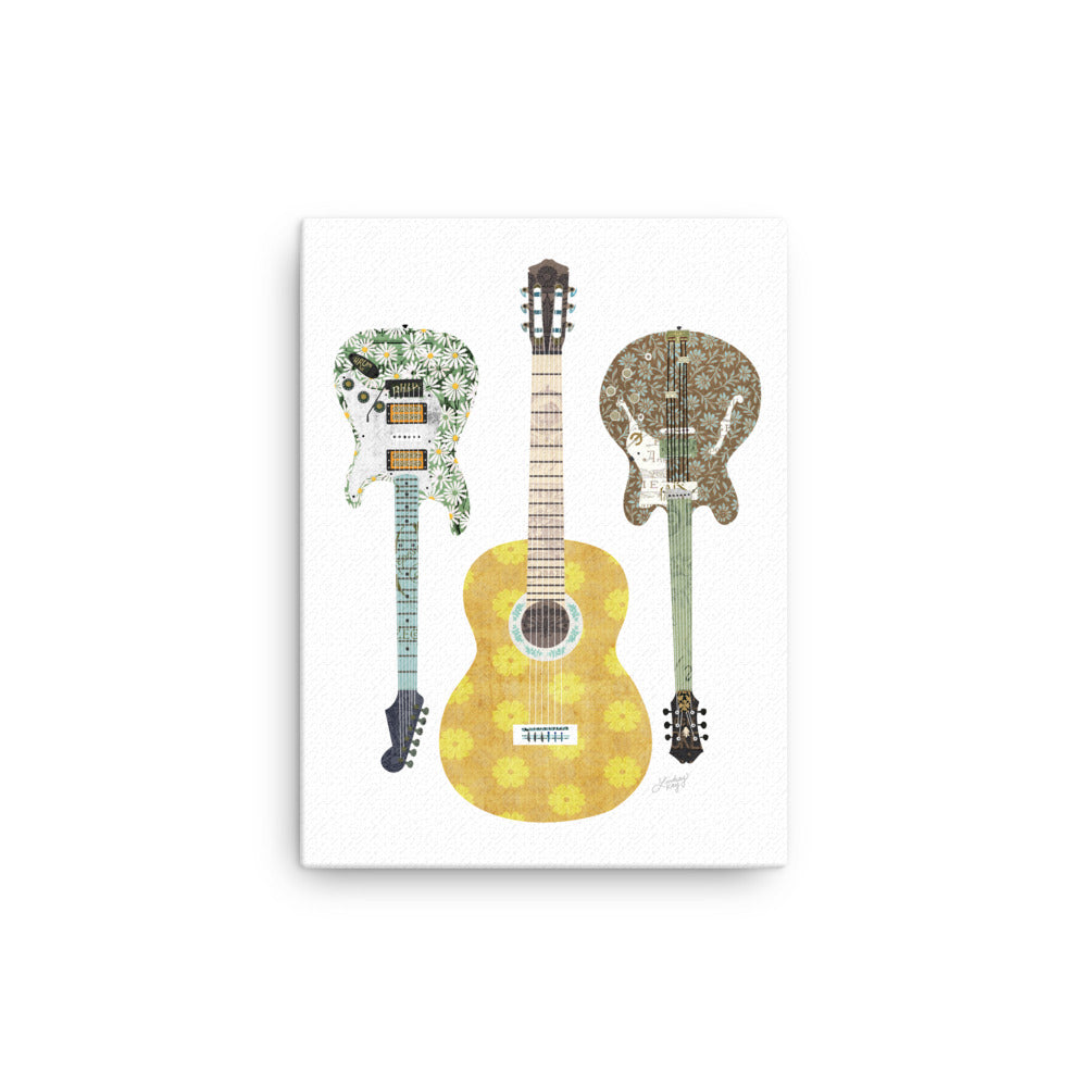 Retro Guitars Collage - Canvas
