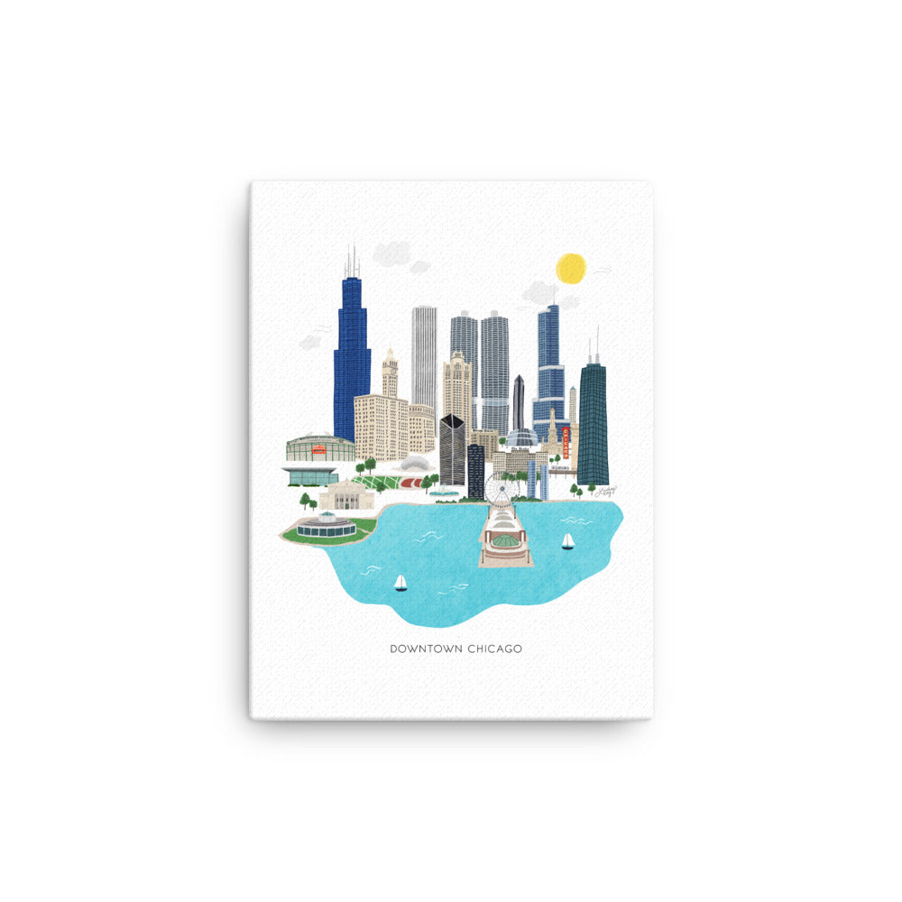 Downtown Chicago Illustration - Canvas