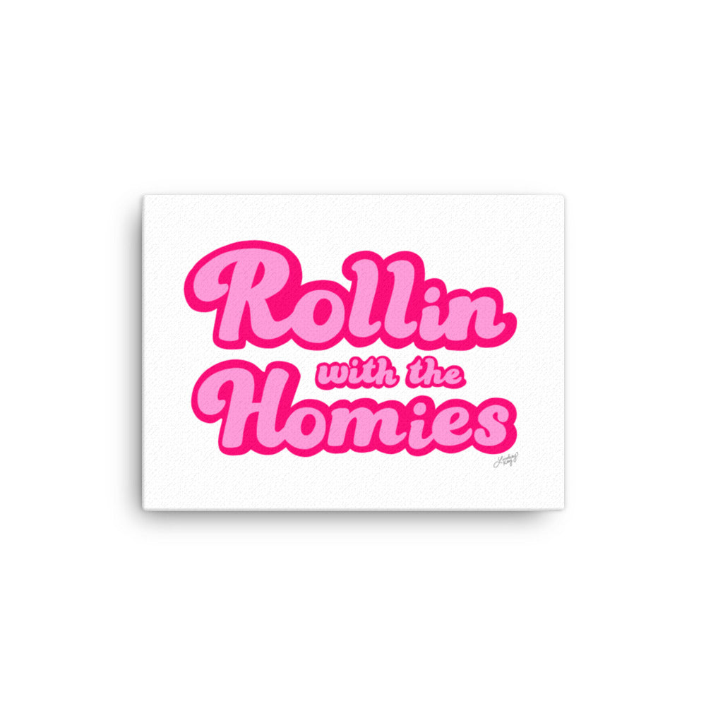 hand lettered typography with the words rollin with the homies designed by lindsey kay collective