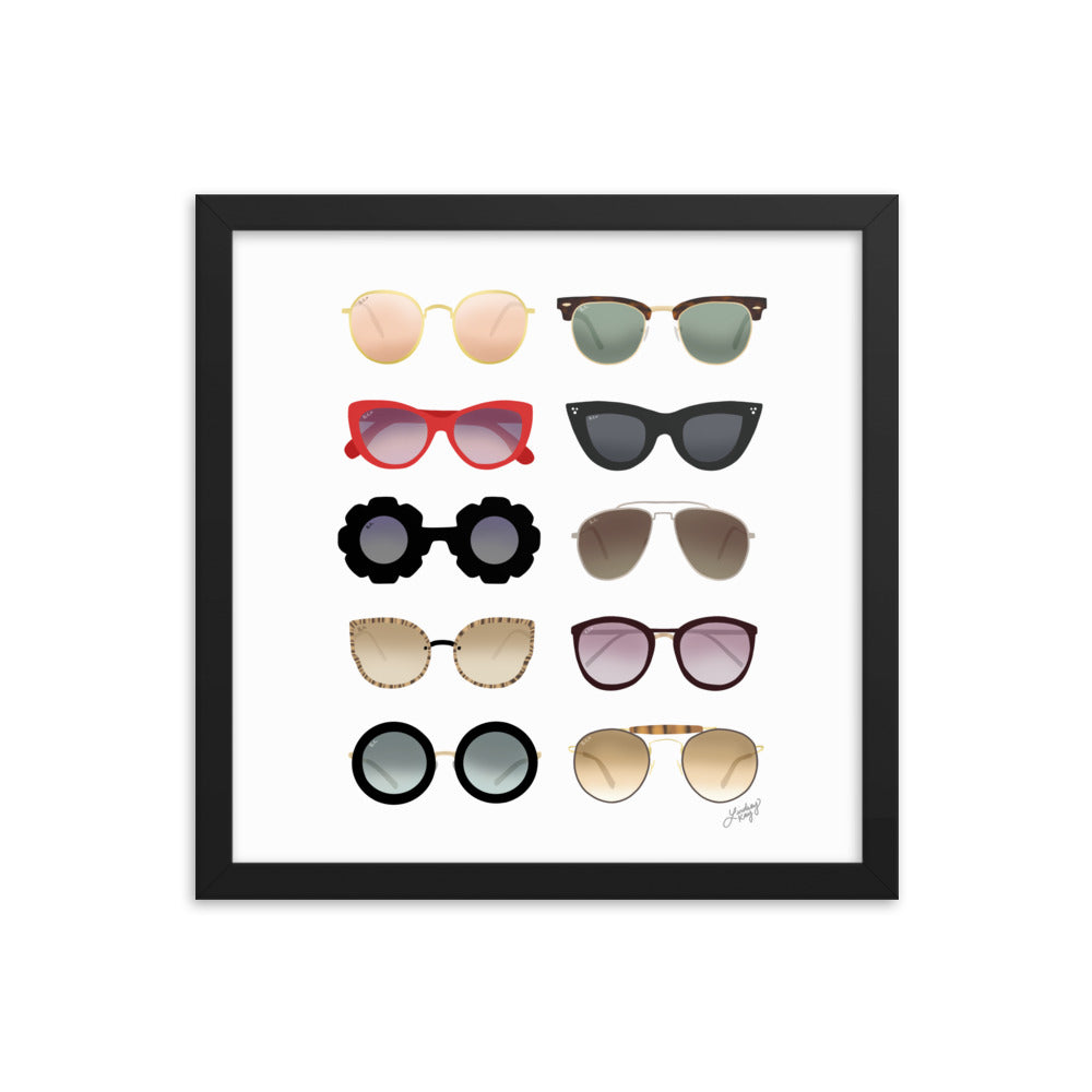 Sunglasses Illustration - Framed Matte Print