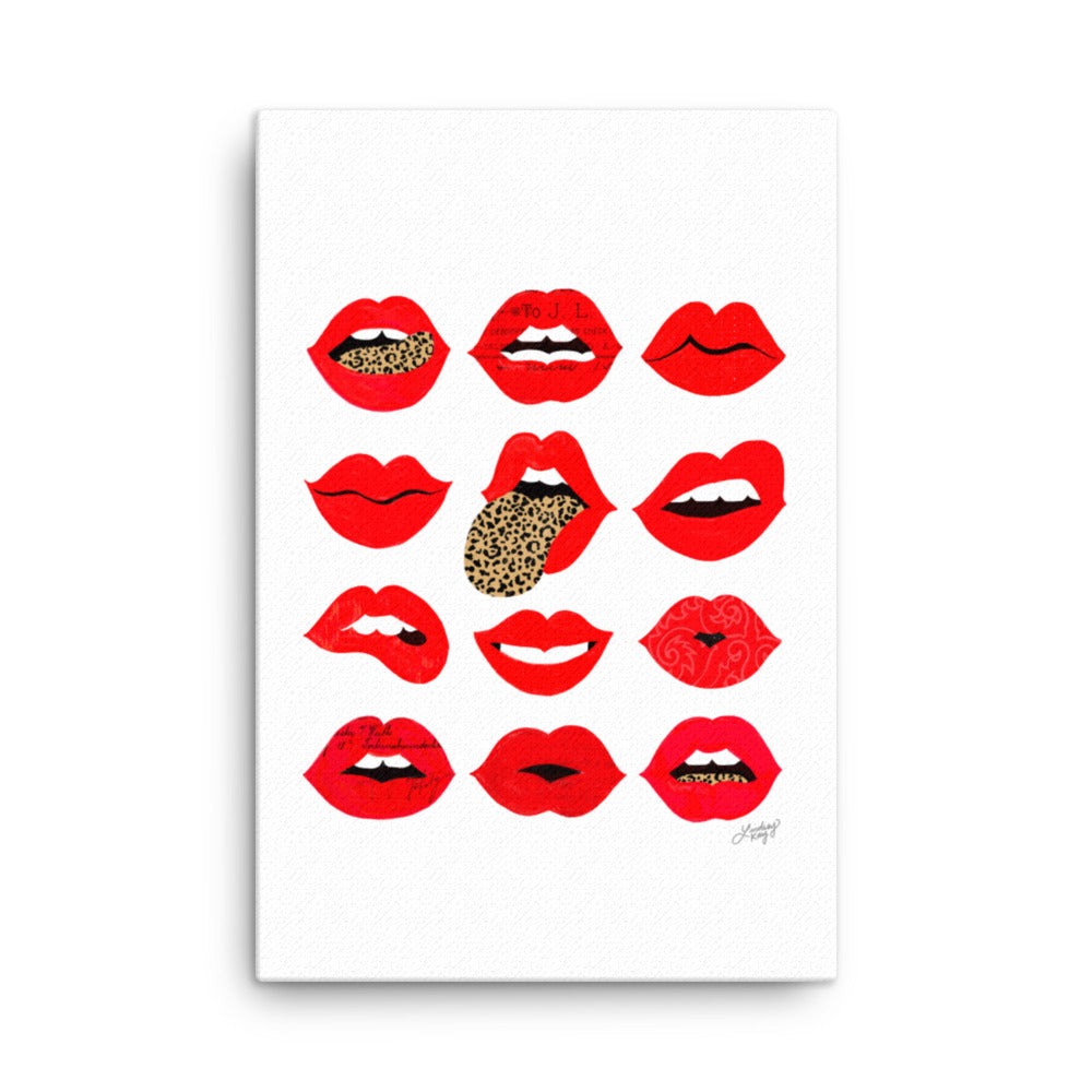 Leopard Lips of Love canvas designed by lindsey kay collective