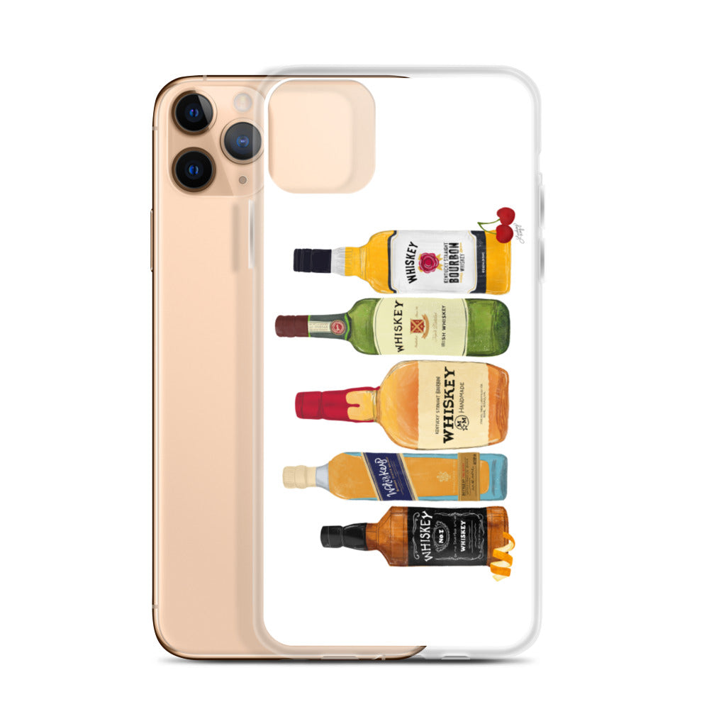 Whiskey Bottles Illustration - iPhone Case