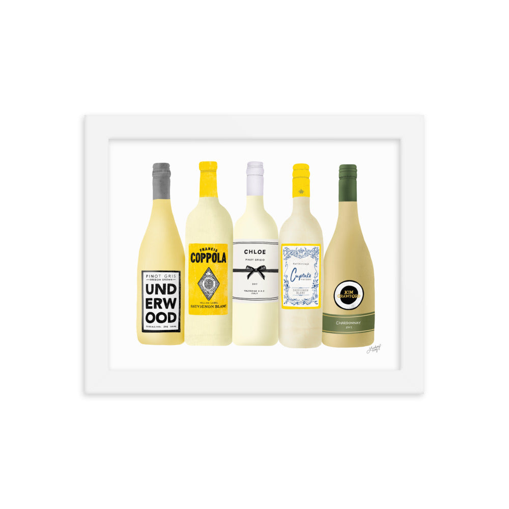 White Wine Bottles Illustration - Framed Matte Print