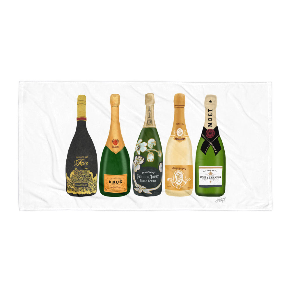 Champagne Bottles Illustration - Beach Towel
