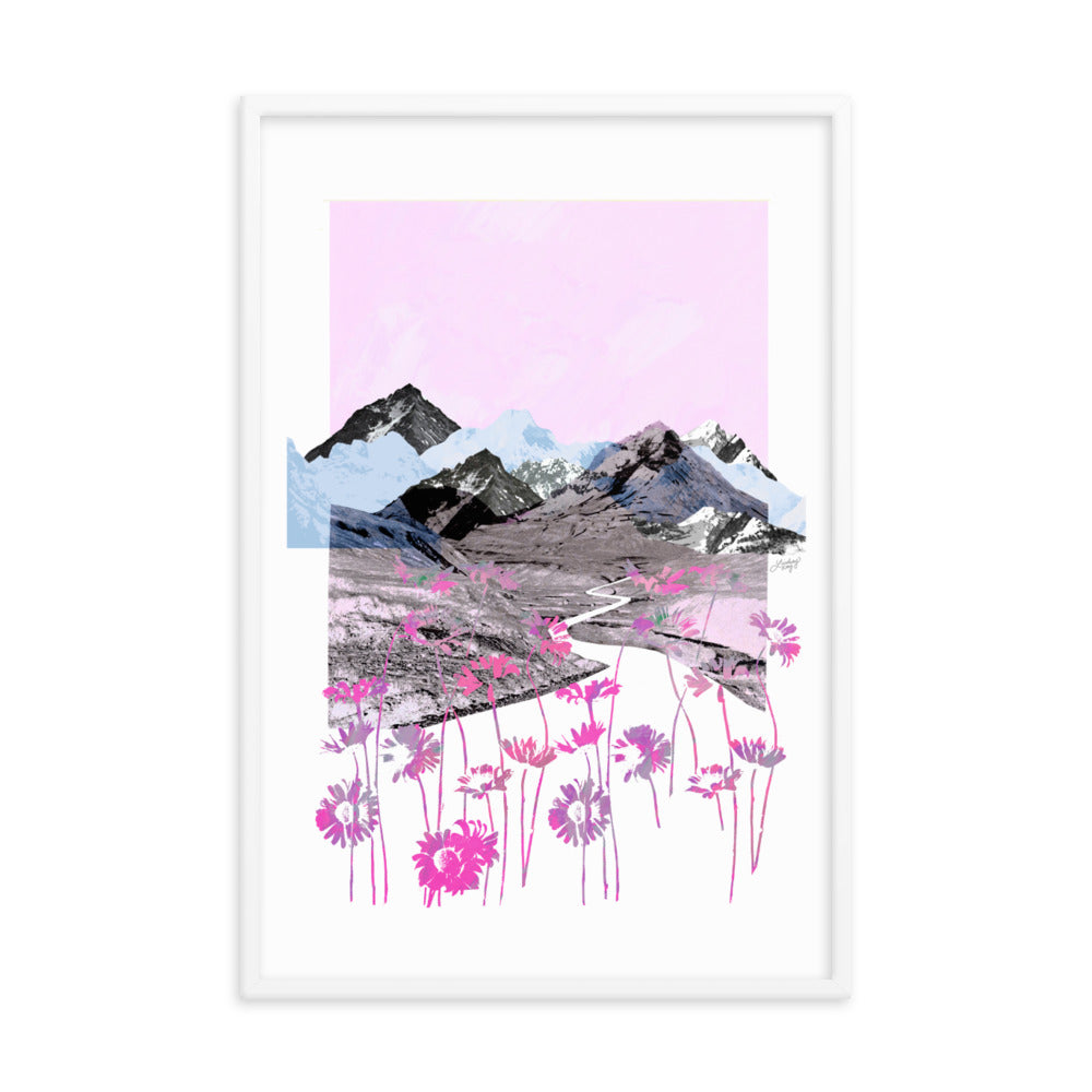 Daisy Mountain Collage (Pink Palette) -  Framed Matte Print