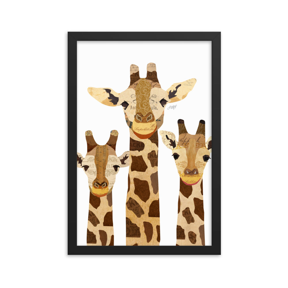Giraffe Collage - Framed Matte Print
