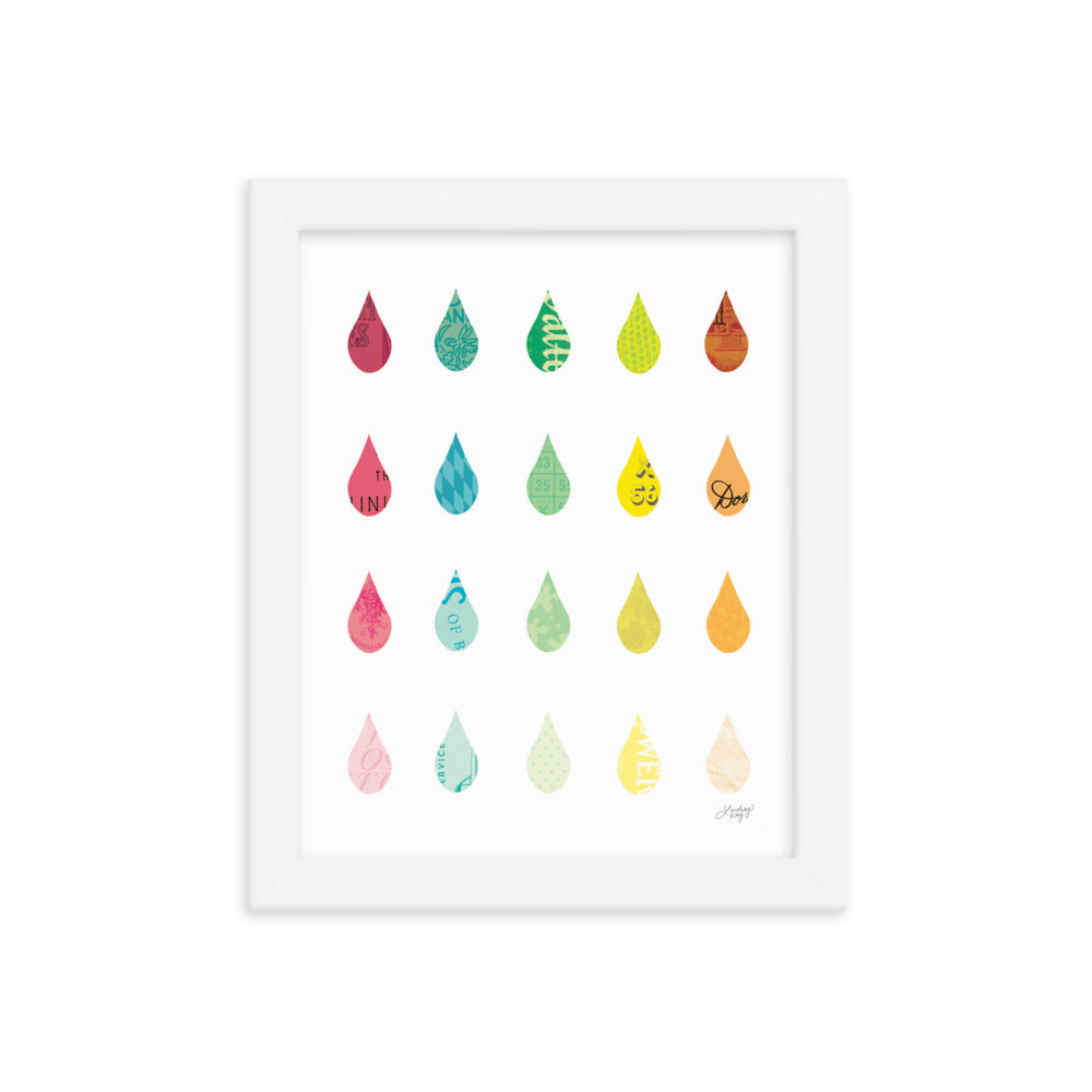 Raindrops Collage - Framed Matte Print