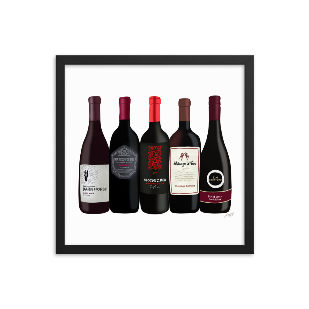 Red Wine Bottles Illustration - Framed Matte Print