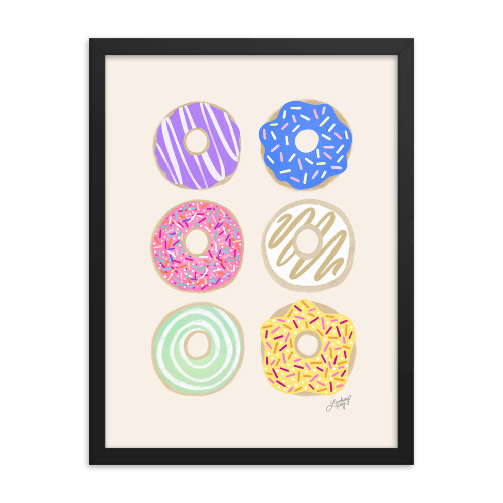 Pastel Donuts Illustration - Framed Matte Print