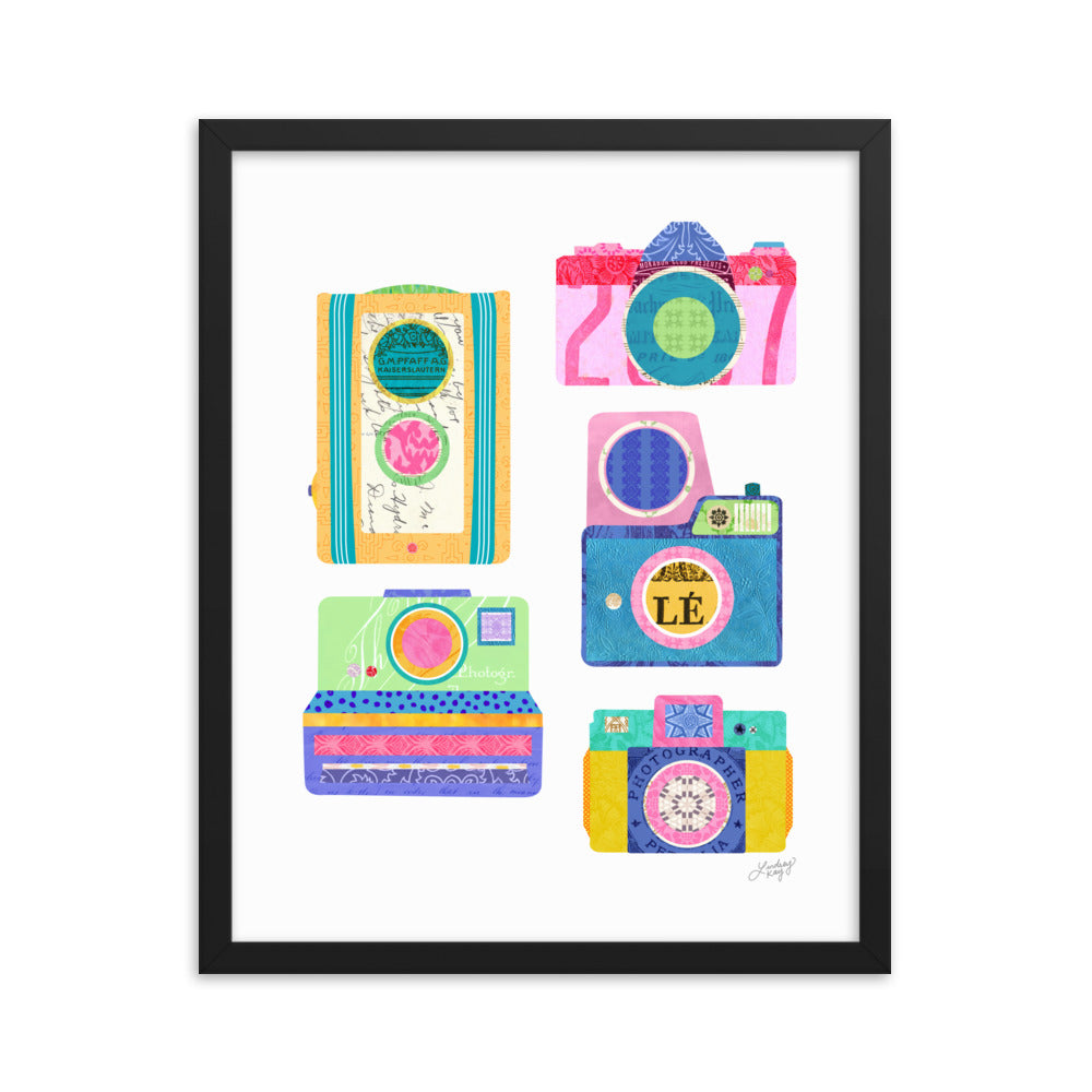 Colorful Cameras Collage - Framed Matte Print