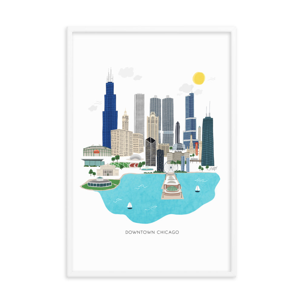 Downtown Chicago Illustration - Framed Matte Print