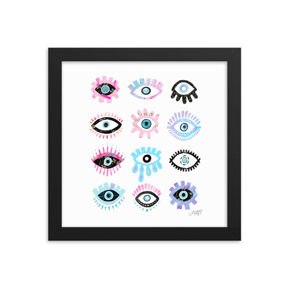 Bright Evil Eyes Illustration - Framed Matte Print