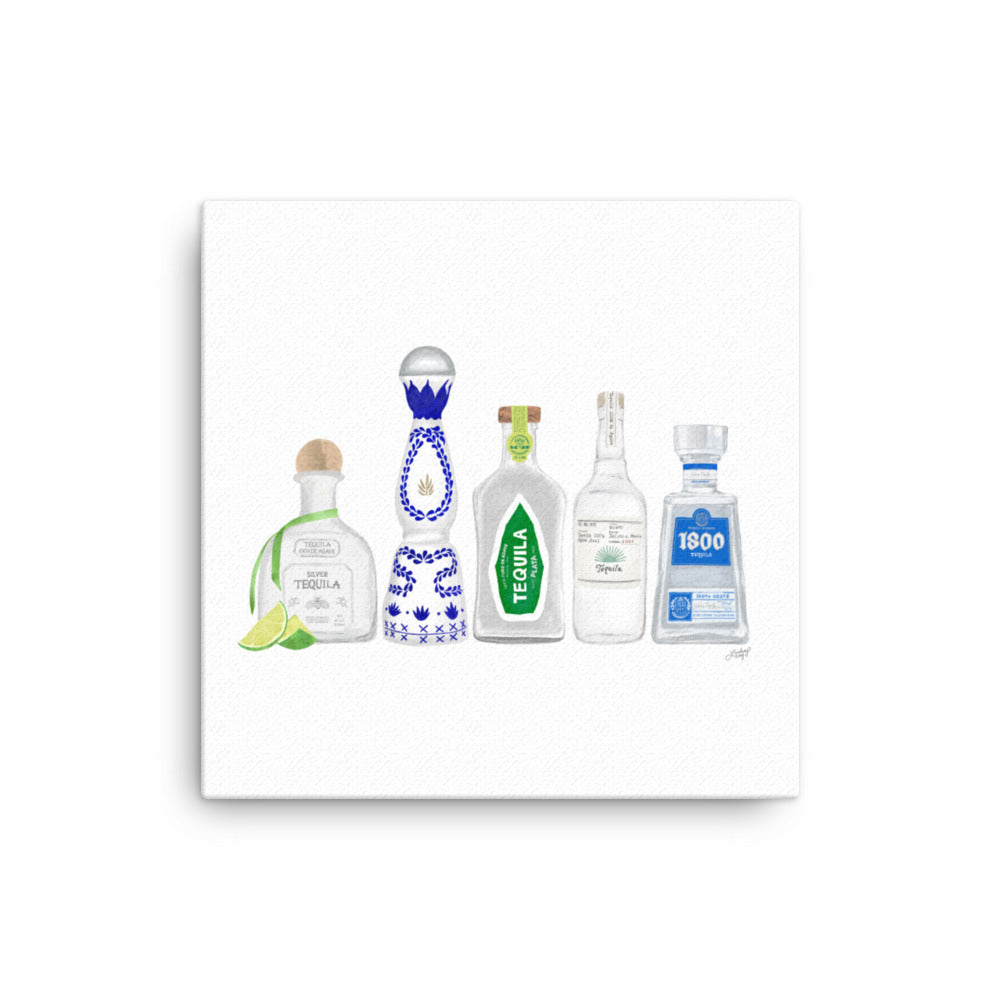 Tequila Bottles Illustration - Canvas