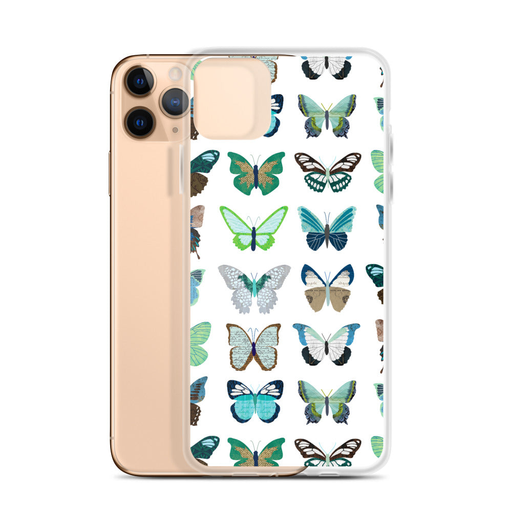 Green and Blue Butterflies Collage - iPhone Case