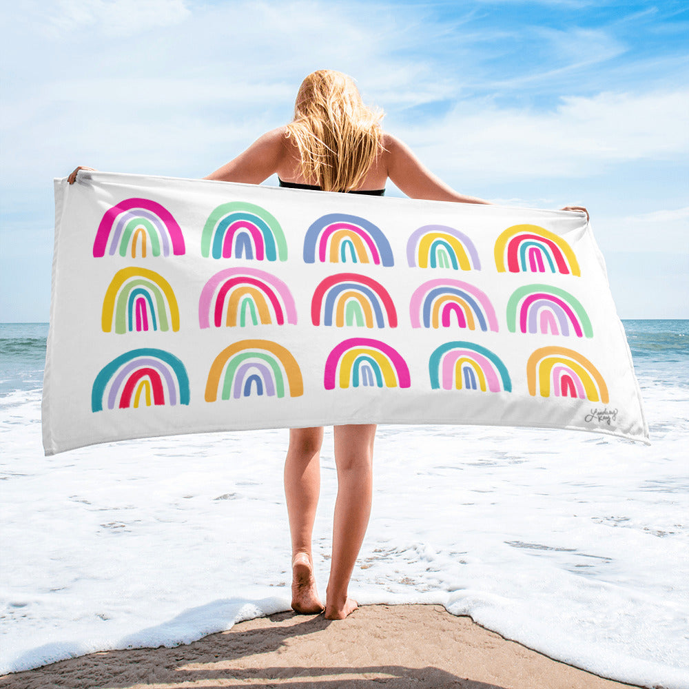 Colorful Rainbows Illustration - Beach Towel