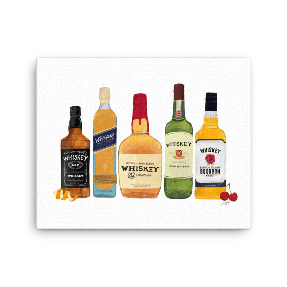 whiskey bottles illustration on canvas designed by lindsey kay collective