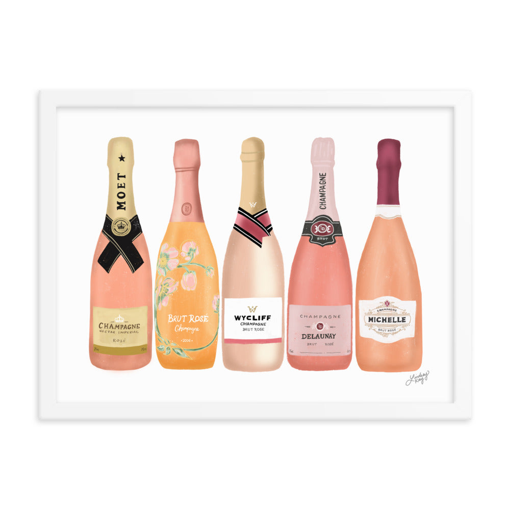 Rose Champagne Bottles Illustration - Framed Matte Poster