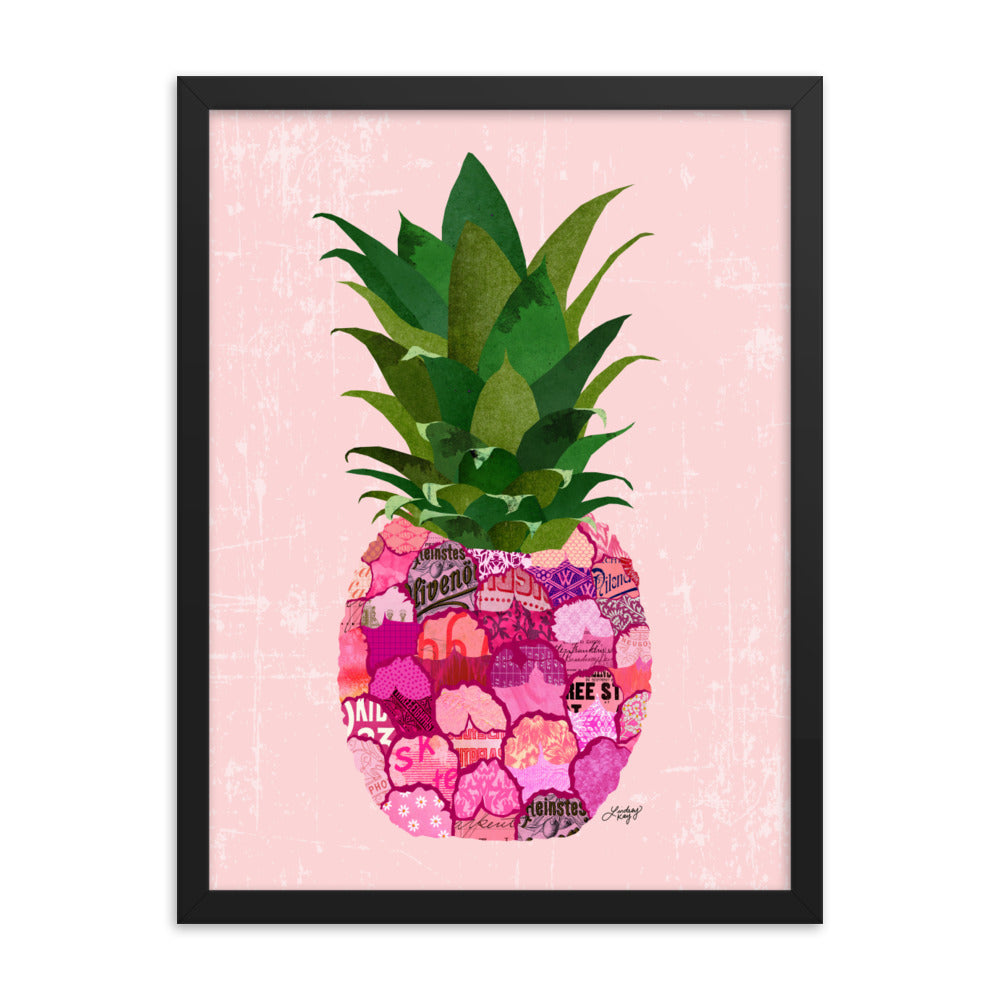 Pink Pineapple Collage - Framed Matte Print