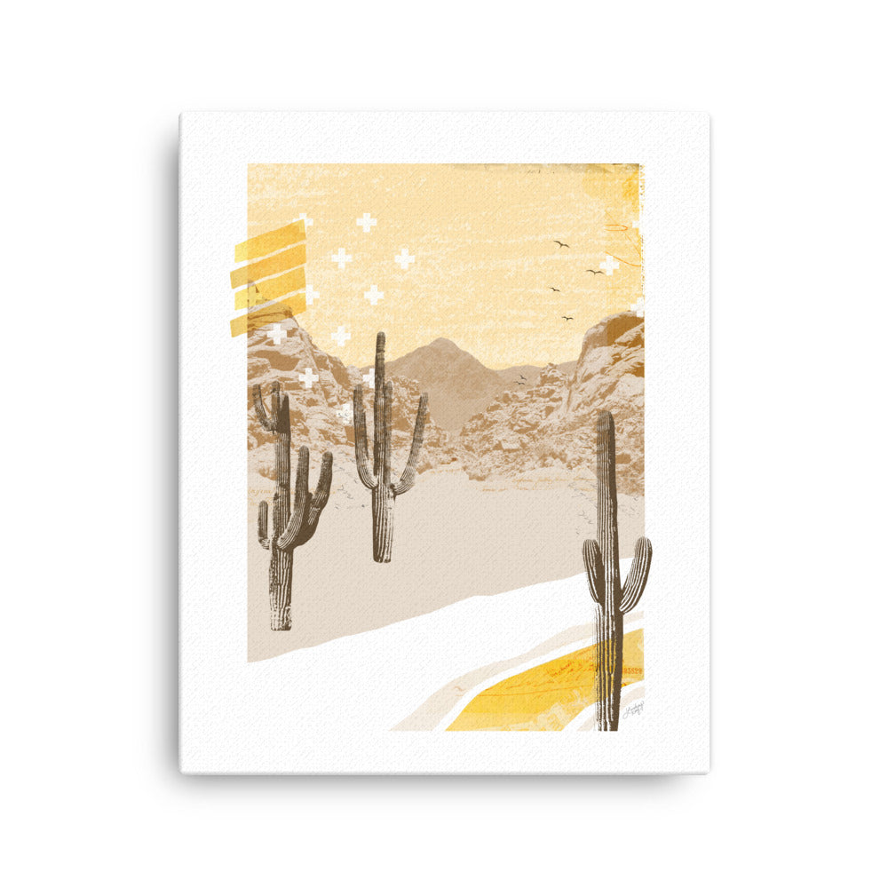 abstract collage illustration of a mountain desert landscape printed on canvas