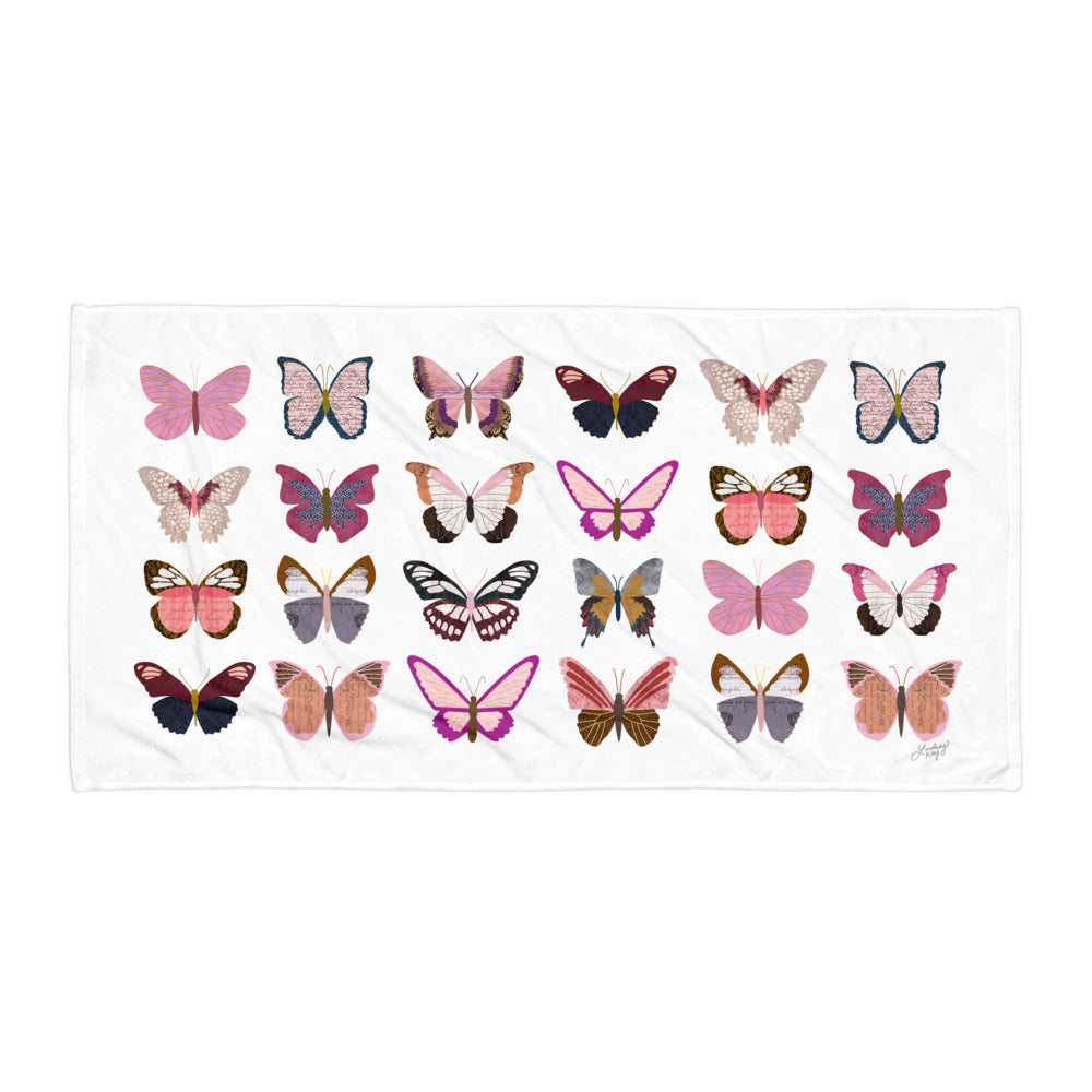 Pink Butterflies Collage - Beach Towel