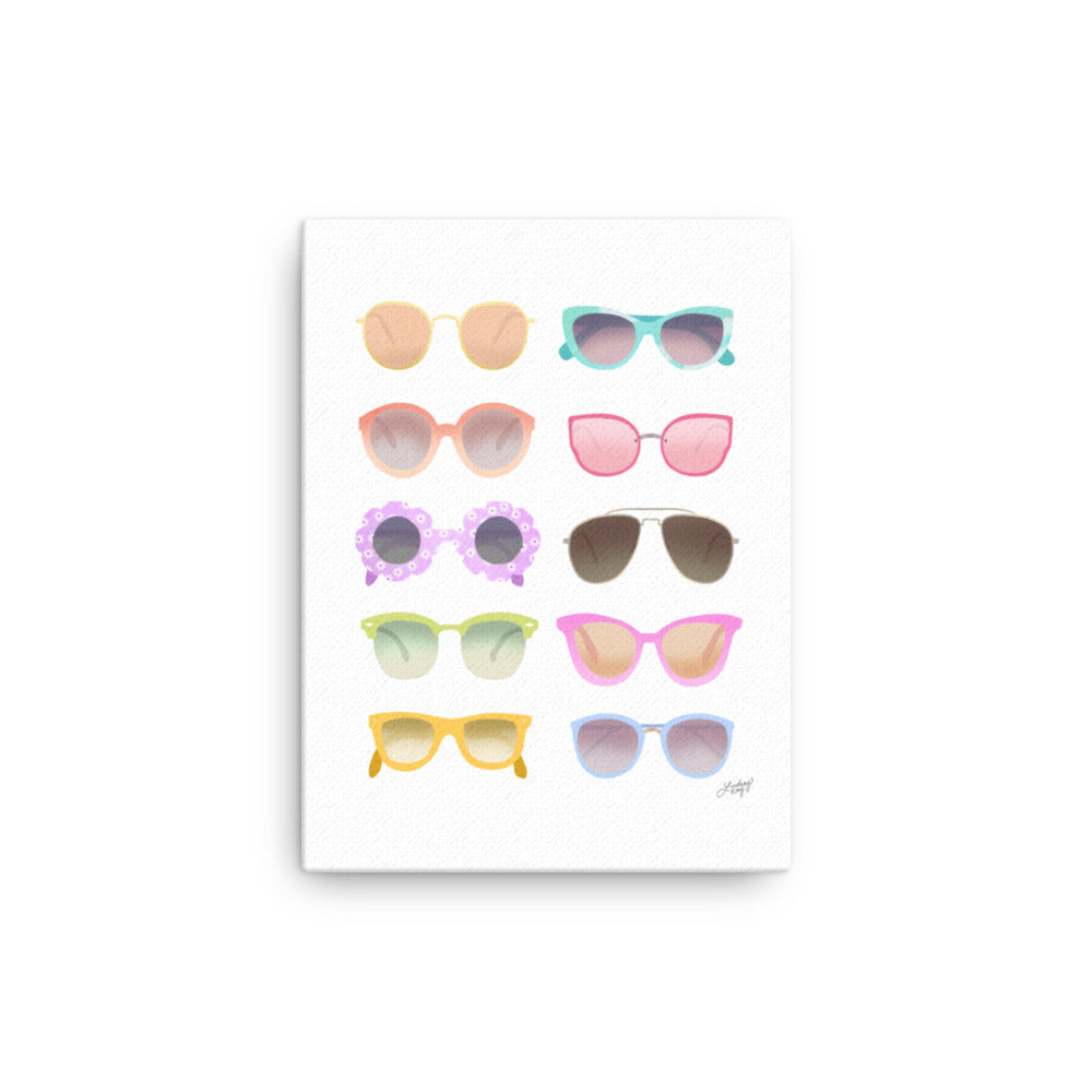 colorful sunglasses illustration on canvas designed by lindsey kay collective
