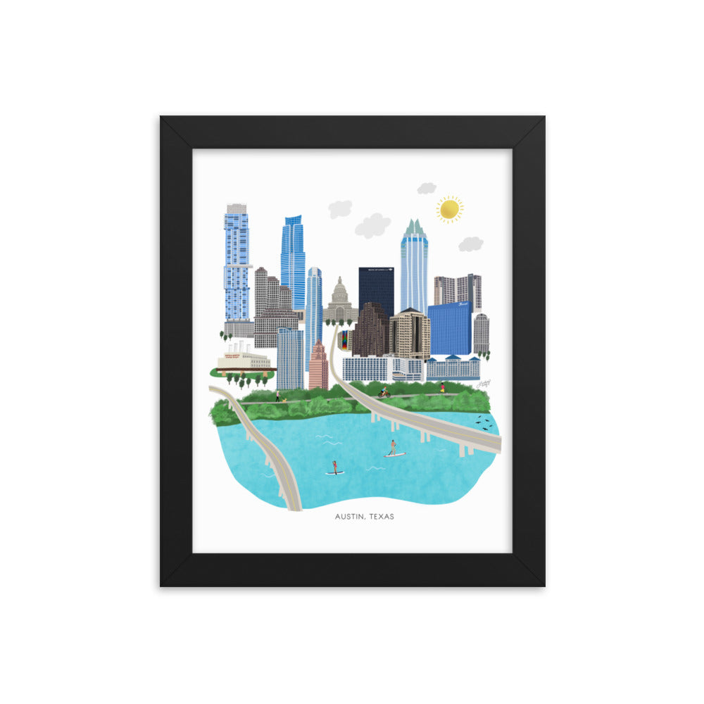 Austin Texas Illustration - Framed Matte Art Print