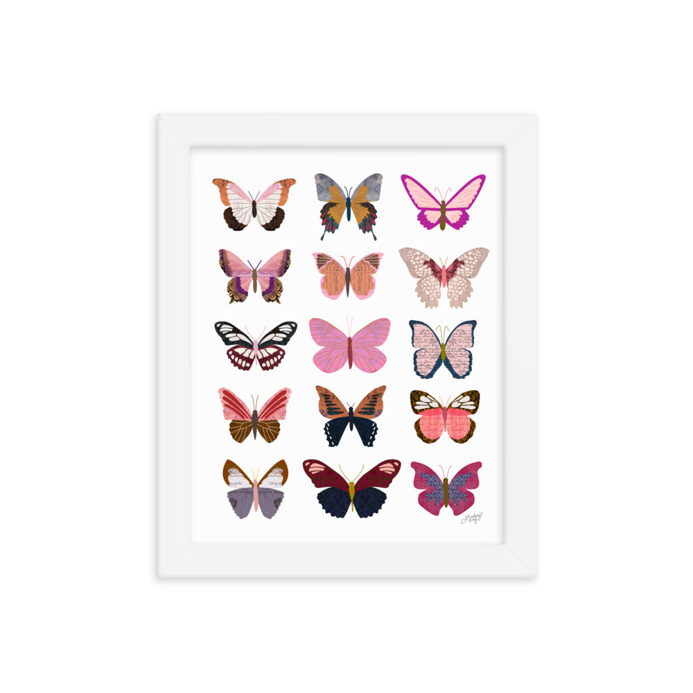 Pink Butterflies Collage - Framed Matte Print