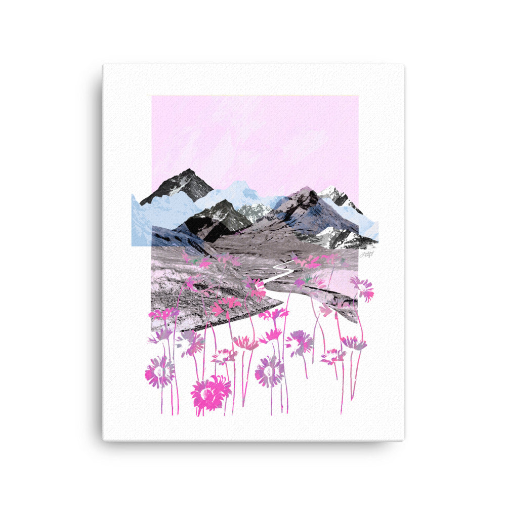 Daisy Mountain (Pink Palette) - Canvas